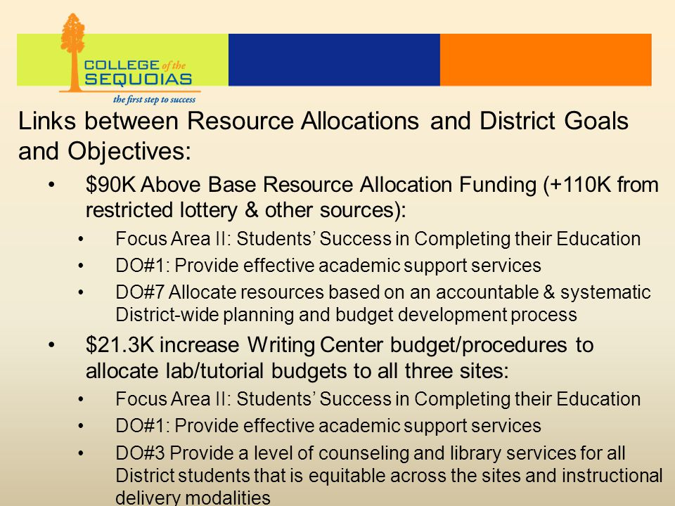 Links between Resource Allocations and District Goals and Objectives: $90K Above Base Resource Allocation Funding (+110K from restricted lottery & other sources): Focus Area II: Students' Success in Completing their Education DO#1: Provide effective academic support services DO#7 Allocate resources based on an accountable & systematic District-wide planning and budget development process $21.3K increase Writing Center budget/procedures to allocate lab/tutorial budgets to all three sites: Focus Area II: Students' Success in Completing their Education DO#1: Provide effective academic support services DO#3 Provide a level of counseling and library services for all District students that is equitable across the sites and instructional delivery modalities