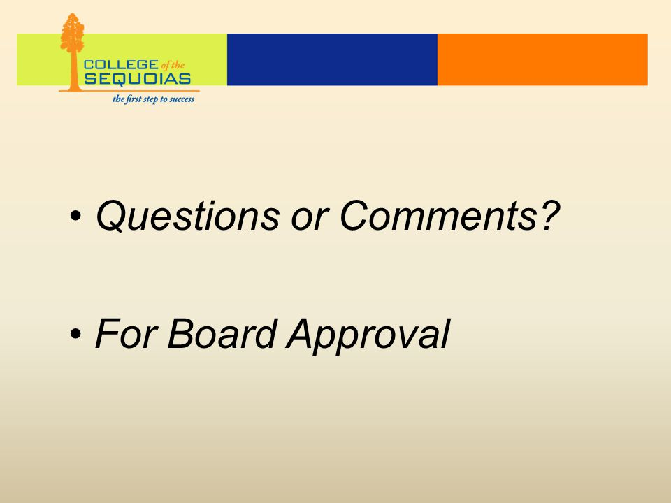 Questions or Comments? For Board Approval