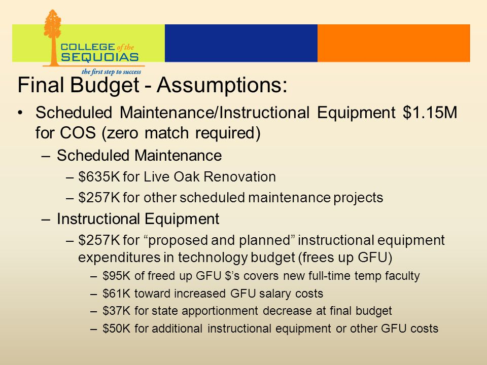 Final Budget - Assumptions: Scheduled Maintenance/Instructional Equipment $1.15M for COS (zero match required) –Scheduled Maintenance –$635K for Live Oak Renovation –$257K for other scheduled maintenance projects –Instructional Equipment –$257K for proposed and planned instructional equipment expenditures in technology budget (frees up GFU) –$95K of freed up GFU $'s covers new full-time temp faculty –$61K toward increased GFU salary costs –$37K for state apportionment decrease at final budget –$50K for additional instructional equipment or other GFU costs