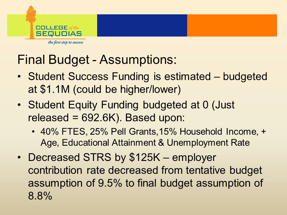 Final Budget - Assumptions: Student Success Funding is estimated – budgeted at $1.1M (could be higher/lower) Student Equity Funding budgeted at 0 (Jus