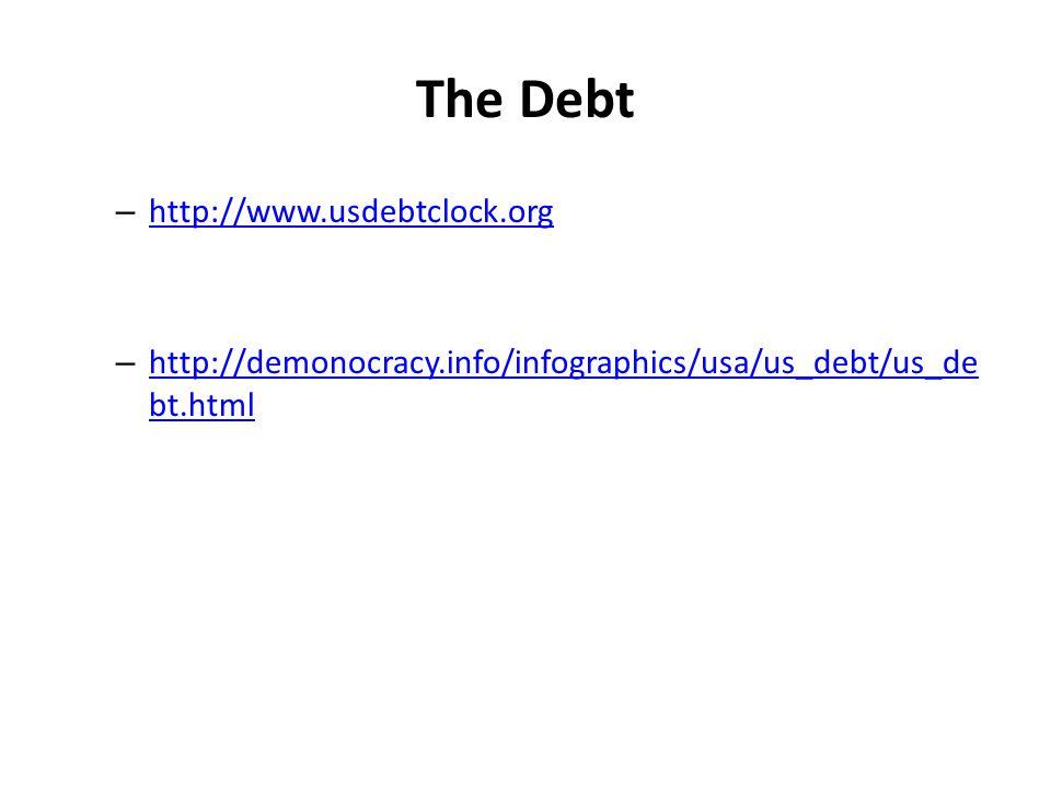 The Debt – http://www.usdebtclock.org http://www.usdebtclock.org – http://demonocracy.info/infographics/usa/us_debt/us_de bt.html http://demonocracy.i