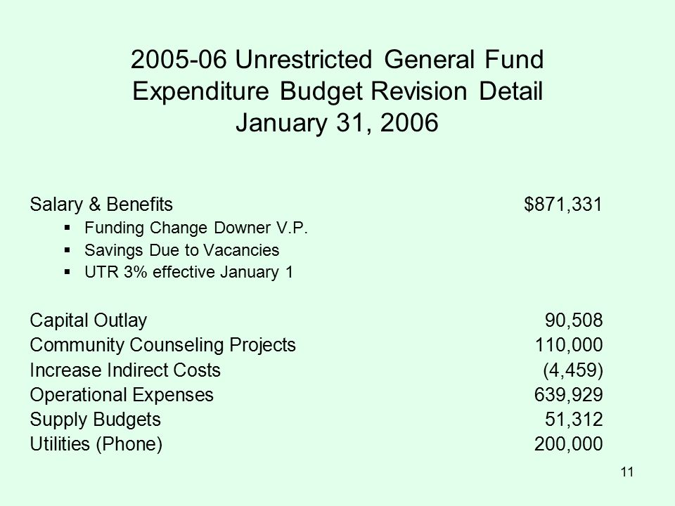 11 2005-06 Unrestricted General Fund Expenditure Budget Revision Detail January 31, 2006 Salary & Benefits$871,331  Funding Change Downer V.P.