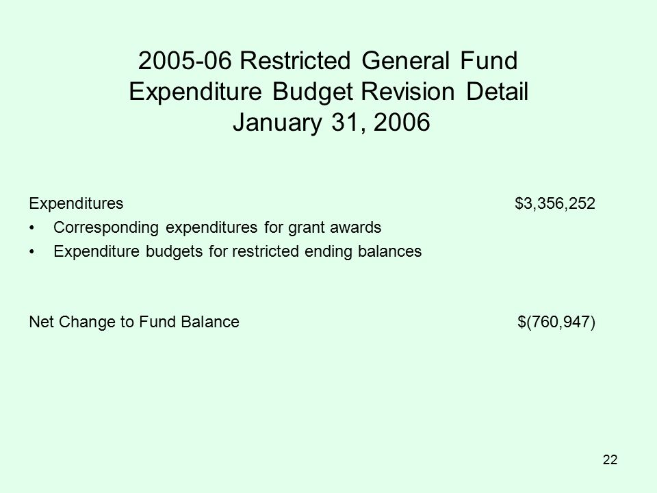 22 2005-06 Restricted General Fund Expenditure Budget Revision Detail January 31, 2006 Expenditures$3,356,252 Corresponding expenditures for grant awards Expenditure budgets for restricted ending balances Net Change to Fund Balance$(760,947)
