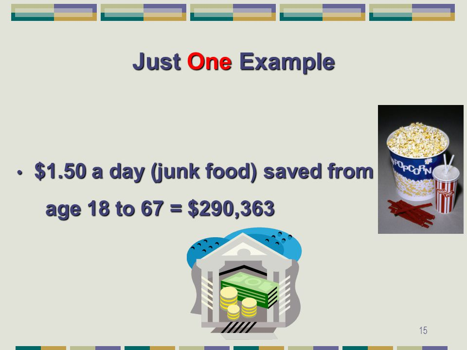 15 Just One Example $1.50 a day (junk food) saved from $1.50 a day (junk food) saved from age 18 to 67 = $290,363 age 18 to 67 = $290,363