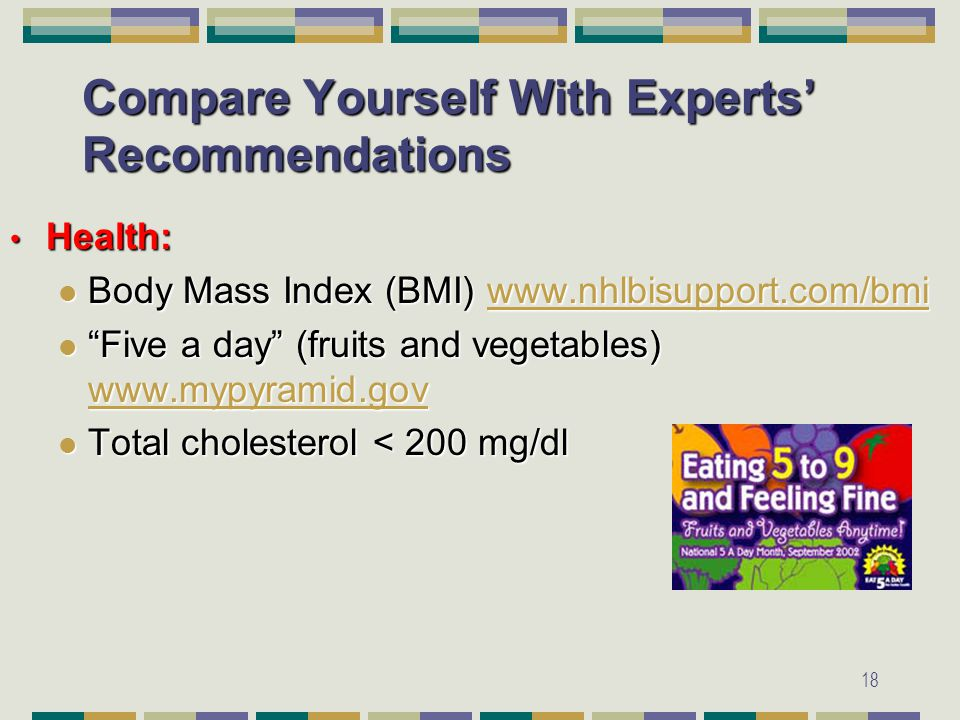 18 Compare Yourself With Experts' Recommendations Health: Health: Body Mass Index (BMI) www.nhlbisupport.com/bmi Body Mass Index (BMI) www.nhlbisupport.com/bmiwww.nhlbisupport.com/bmi Five a day (fruits and vegetables) www.mypyramid.gov Five a day (fruits and vegetables) www.mypyramid.gov www.mypyramid.gov Total cholesterol < 200 mg/dl Total cholesterol < 200 mg/dl