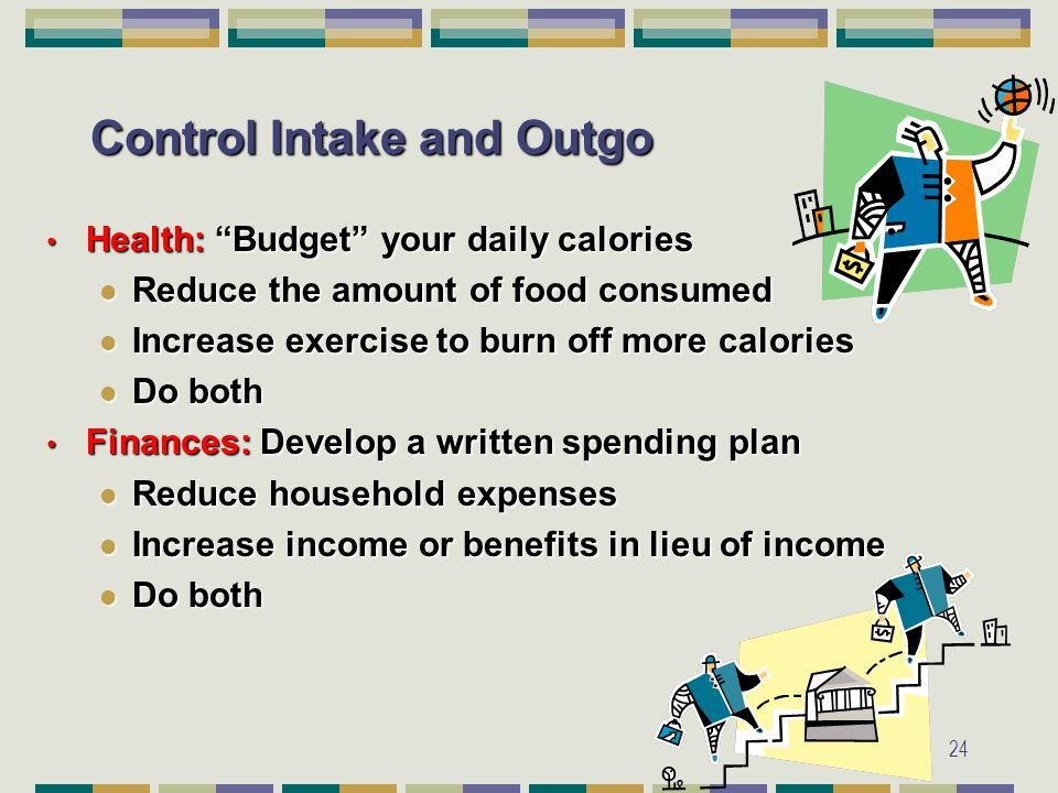 24 Control Intake and Outgo Health: Budget your daily calories Health: Budget your daily calories Reduce the amount of food consumed Reduce the amount of food consumed Increase exercise to burn off more calories Increase exercise to burn off more calories Do both Do both Finances: Develop a written spending plan Finances: Develop a written spending plan Reduce household expenses Reduce household expenses Increase income or benefits in lieu of income Increase income or benefits in lieu of income Do both Do both