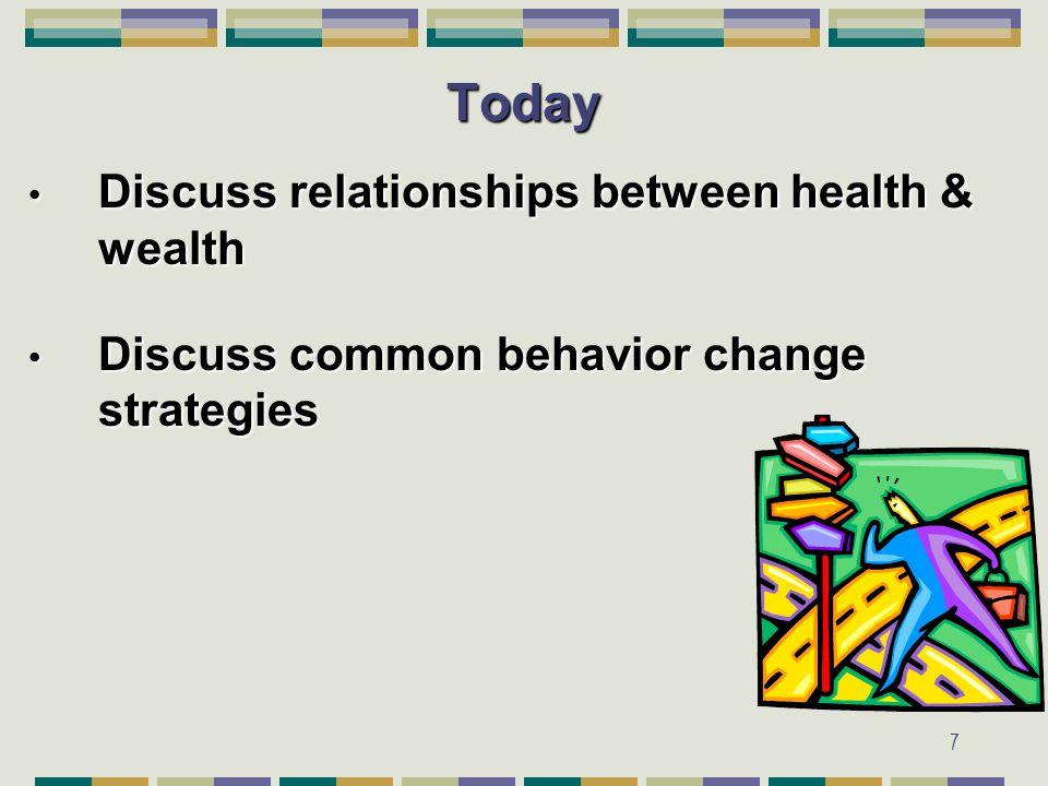 7Today Discuss relationships between health & wealth Discuss relationships between health & wealth Discuss common behavior change strategies Discuss common behavior change strategies