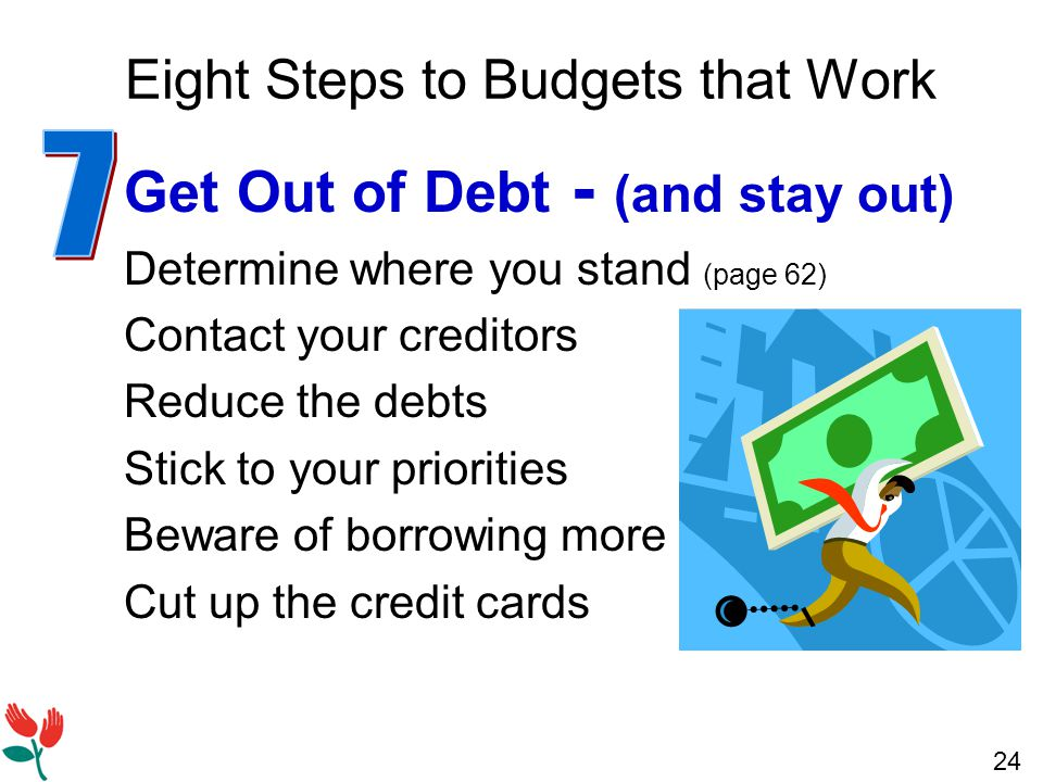 24 Eight Steps to Budgets that Work Get Out of Debt - (and stay out) Determine where you stand (page 62) Contact your creditors Reduce the debts Stick to your priorities Beware of borrowing more Cut up the credit cards