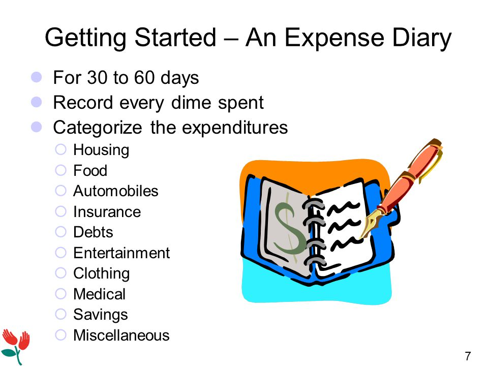 7 Getting Started – An Expense Diary For 30 to 60 days Record every dime spent Categorize the expenditures  Housing  Food  Automobiles  Insurance  Debts  Entertainment  Clothing  Medical  Savings  Miscellaneous
