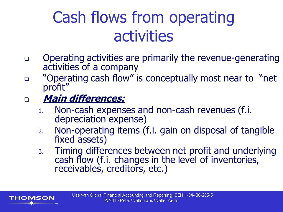 "Cash flows from operating activities  Operating activities are primarily the revenue-generating activities of a company  ""Operating cash flow"" is co"