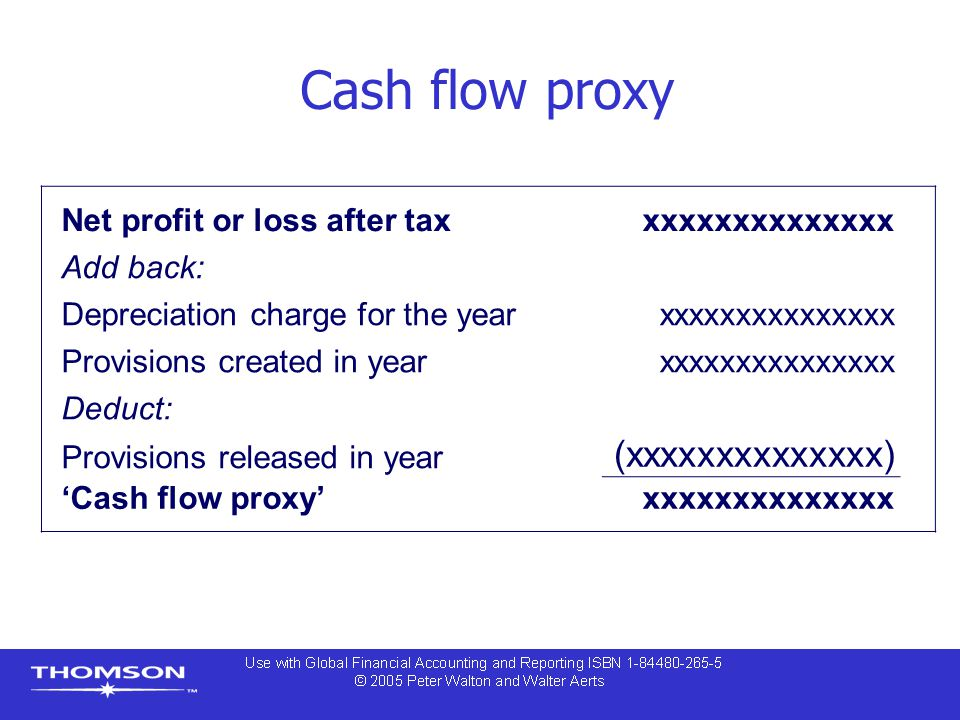 Cash flow proxy Net profit or loss after taxxxxxxxxxxxxxxx Add back: Depreciation charge for the yearxxxxxxxxxxxxxxx Provisions created in yearxxxxxxx