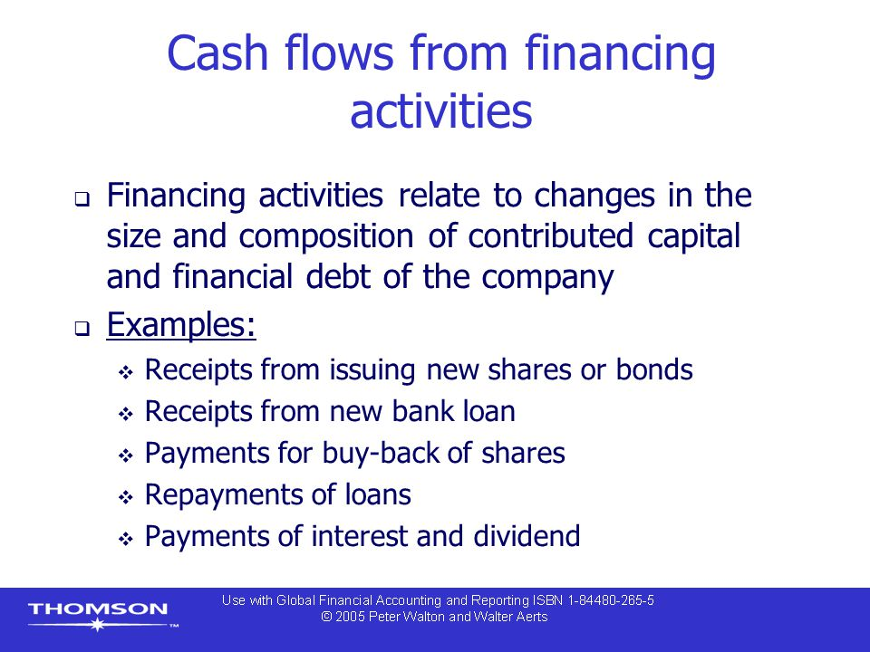 Cash flows from financing activities  Financing activities relate to changes in the size and composition of contributed capital and financial debt of