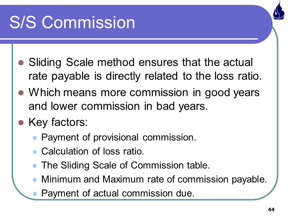 44 Sliding Scale method ensures that the actual rate payable is directly related to the loss ratio.