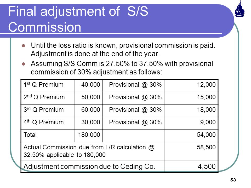 53 Final adjustment of S/S Commission Until the loss ratio is known, provisional commission is paid.