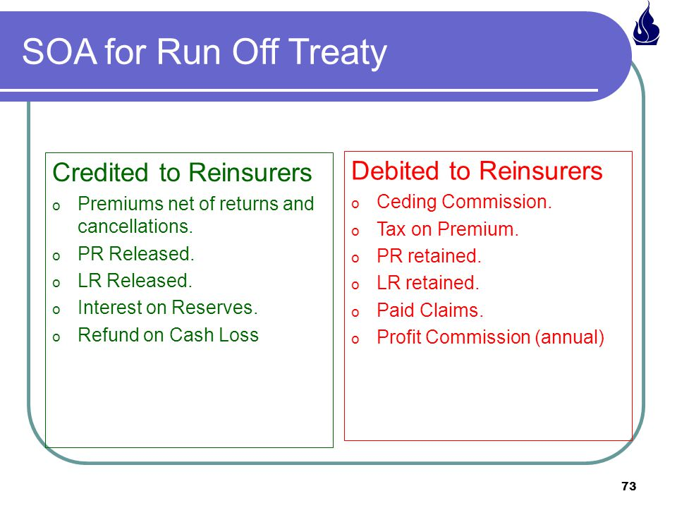 73 SOA for Run Off Treaty Credited to Reinsurers o Premiums net of returns and cancellations.