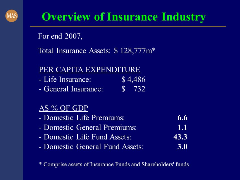 Overview of Insurance Industry For end 2007, Total Insurance Assets: $ 128,777m* PER CAPITA EXPENDITURE - Life Insurance: $ 4,486 - General Insurance: $ 732 AS % OF GDP - Domestic Life Premiums: 6.6 - Domestic General Premiums: 1.1 - Domestic Life Fund Assets: 43.3 - Domestic General Fund Assets: 3.0 * Comprise assets of Insurance Funds and Shareholders funds.
