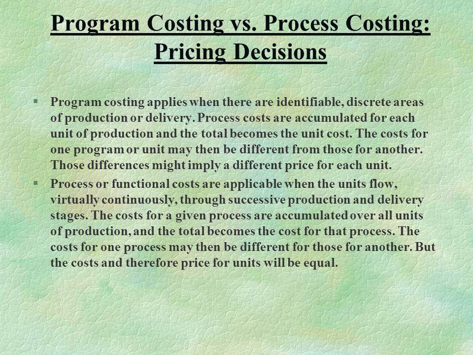 Program Costing vs.