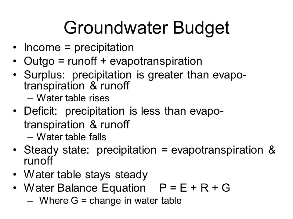 Groundwater Budget Income = precipitation Outgo = runoff + evapotranspiration Surplus: precipitation is greater than evapo- transpiration & runoff –Water table rises Deficit: precipitation is less than evapo- transpiration & runoff –Water table falls Steady state: precipitation = evapotranspiration & runoff Water table stays steady Water Balance EquationP = E + R + G – Where G = change in water table