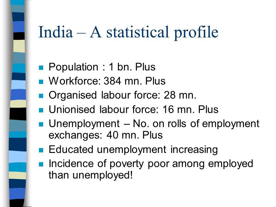 India – A statistical profile n Population : 1 bn.