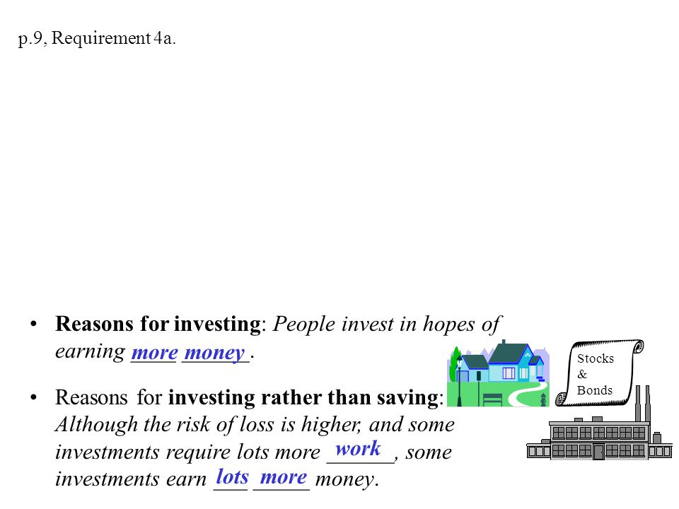 Reasons for saving rather than investing: People who save money in a bank or credit union are much ____likely to lose it. And more likely to be able t