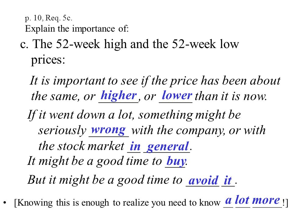 p. 10, Req. #5b Explain to your MB Counselor the importance of: b. How much the price changed from the previous day: If it went down a lot, something