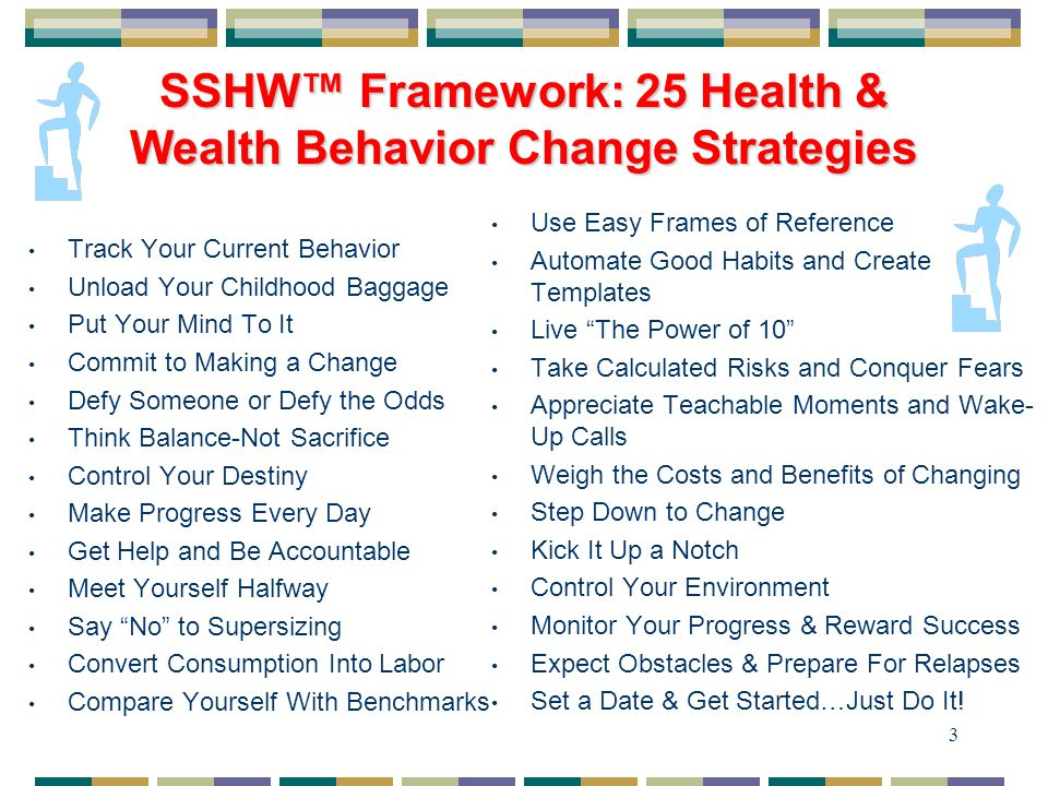 3 SSHW™ Framework: 25 Health & Wealth Behavior Change Strategies Track Your Current Behavior Unload Your Childhood Baggage Put Your Mind To It Commit to Making a Change Defy Someone or Defy the Odds Think Balance-Not Sacrifice Control Your Destiny Make Progress Every Day Get Help and Be Accountable Meet Yourself Halfway Say No to Supersizing Convert Consumption Into Labor Compare Yourself With Benchmarks Use Easy Frames of Reference Automate Good Habits and Create Templates Live The Power of 10 Take Calculated Risks and Conquer Fears Appreciate Teachable Moments and Wake- Up Calls Weigh the Costs and Benefits of Changing Step Down to Change Kick It Up a Notch Control Your Environment Monitor Your Progress & Reward Success Expect Obstacles & Prepare For Relapses Set a Date & Get Started…Just Do It!