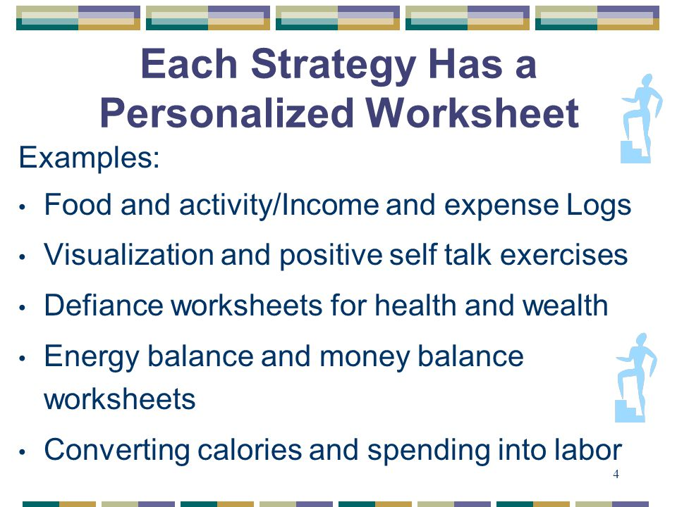 4 Each Strategy Has a Personalized Worksheet Examples: Food and activity/Income and expense Logs Visualization and positive self talk exercises Defiance worksheets for health and wealth Energy balance and money balance worksheets Converting calories and spending into labor