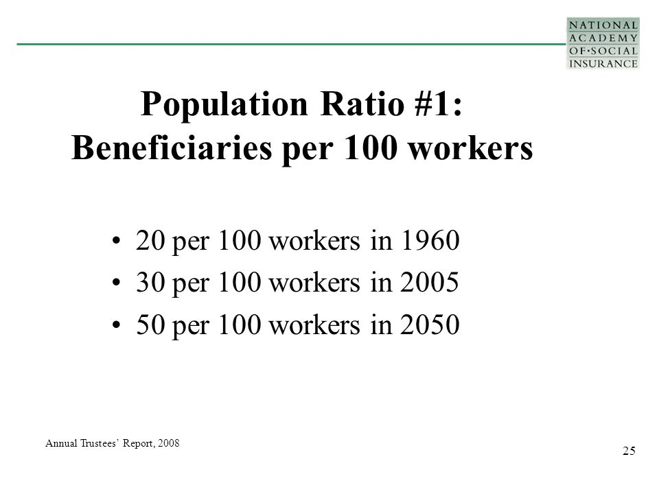 25 Population Ratio #1: Beneficiaries per 100 workers 20 per 100 workers in 1960 30 per 100 workers in 2005 50 per 100 workers in 2050 Annual Trustees' Report, 2008