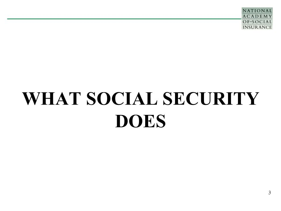 3 WHAT SOCIAL SECURITY DOES