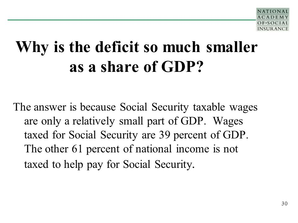 30 Why is the deficit so much smaller as a share of GDP.