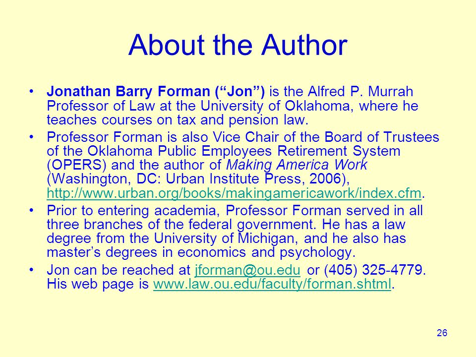 26 About the Author Jonathan Barry Forman ( Jon ) is the Alfred P.