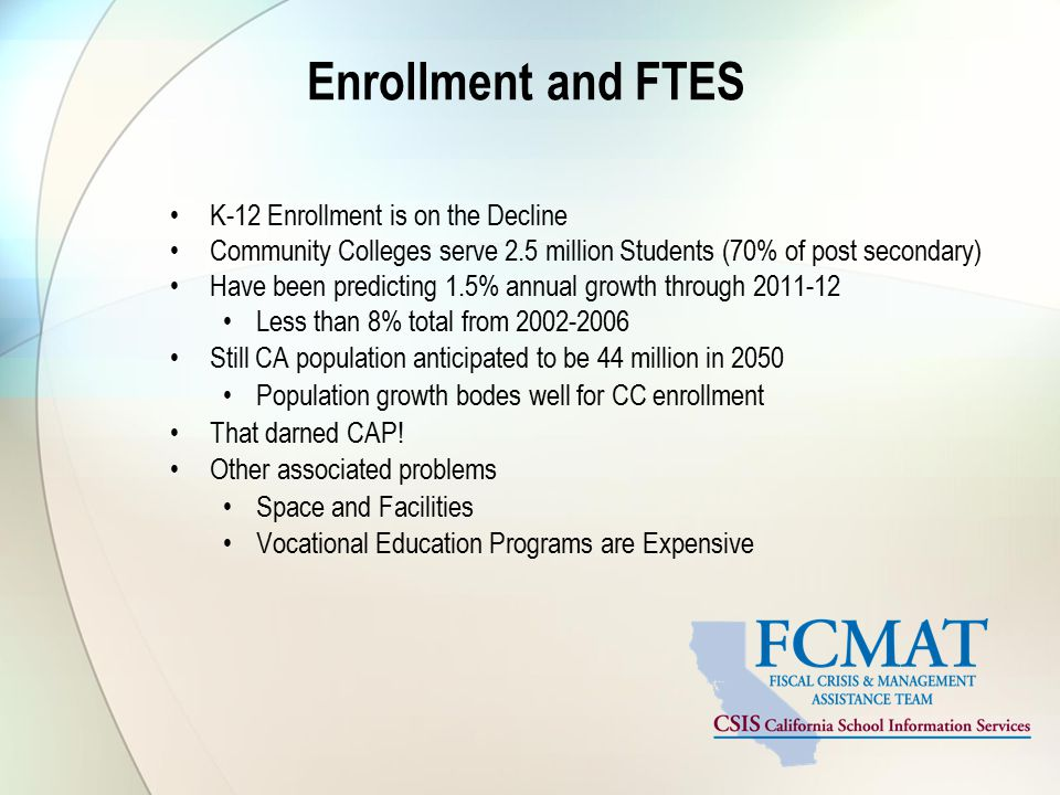 Enrollment and FTES K-12 Enrollment is on the Decline Community Colleges serve 2.5 million Students (70% of post secondary) Have been predicting 1.5% annual growth through 2011-12 Less than 8% total from 2002-2006 Still CA population anticipated to be 44 million in 2050 Population growth bodes well for CC enrollment That darned CAP.