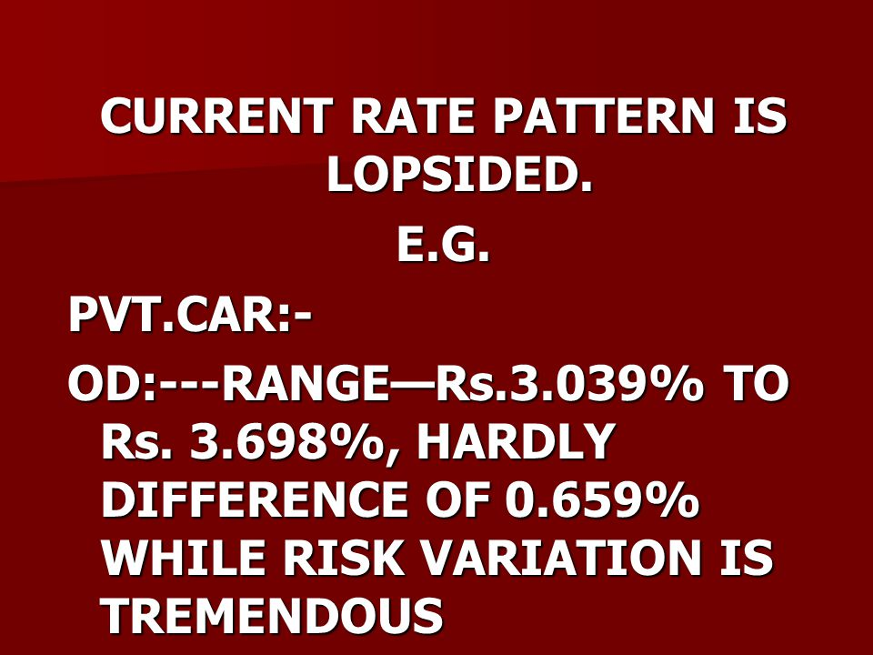 CURRENT RATE PATTERN IS LOPSIDED. E.G.PVT.CAR:- OD:---RANGE—Rs.3.039% TO Rs.