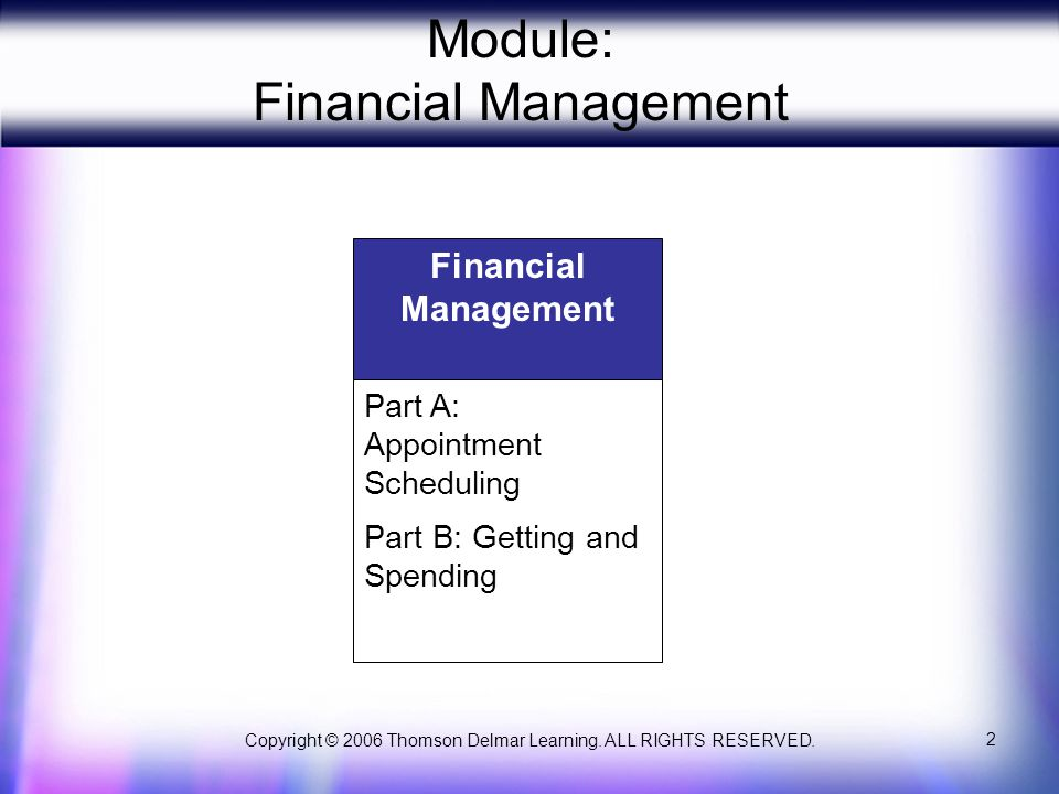 Copyright © 2006 Thomson Delmar Learning. ALL RIGHTS RESERVED. 2 Module: Financial Management Financial Management Part A: Appointment Scheduling Part