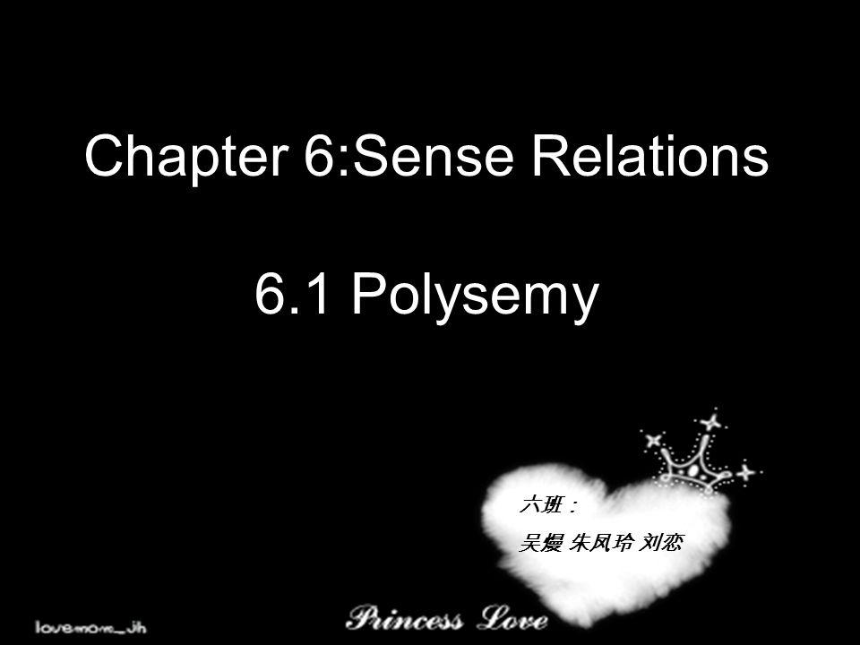 Chapter 6:Sense Relations 6.1 Polysemy 六班: 吴熳 朱凤玲 刘恋