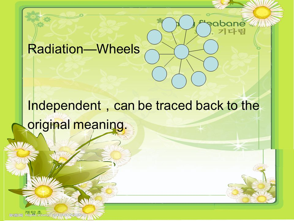 Radiation—Wheels Independent , can be traced back to the original meaning.