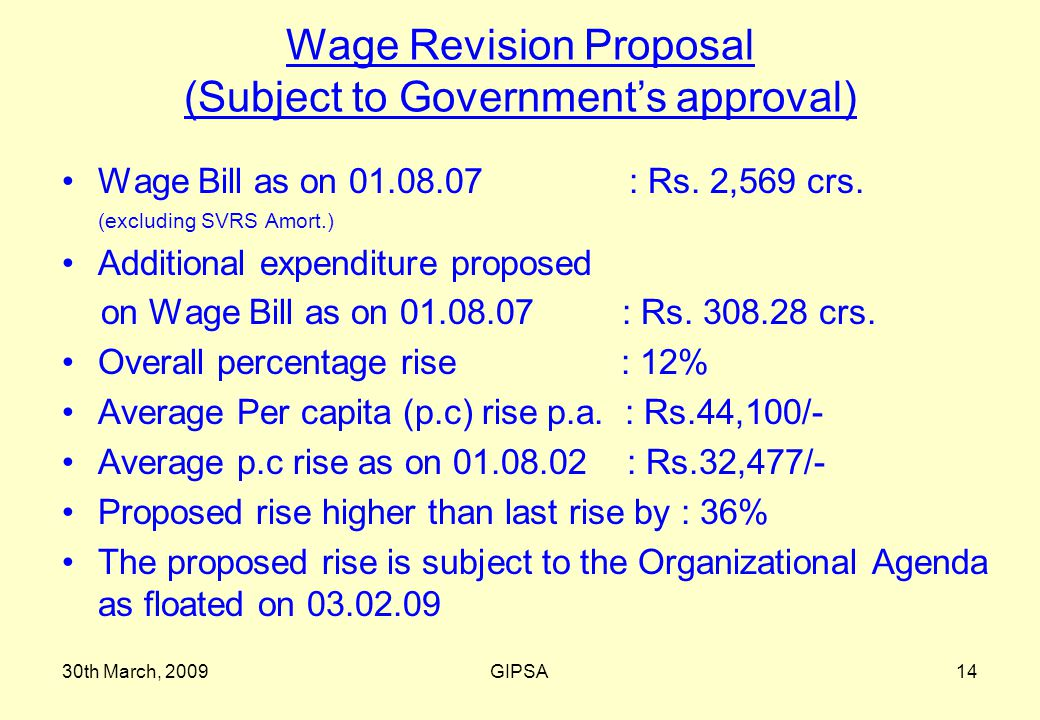 30th March, 2009GIPSA14 Wage Revision Proposal (Subject to Government's approval) Wage Bill as on 01.08.07 : Rs.