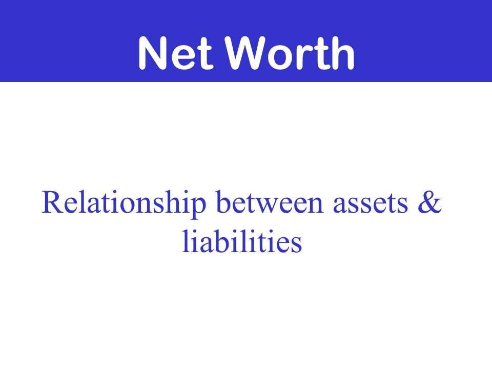 Net Worth Relationship between assets & liabilities