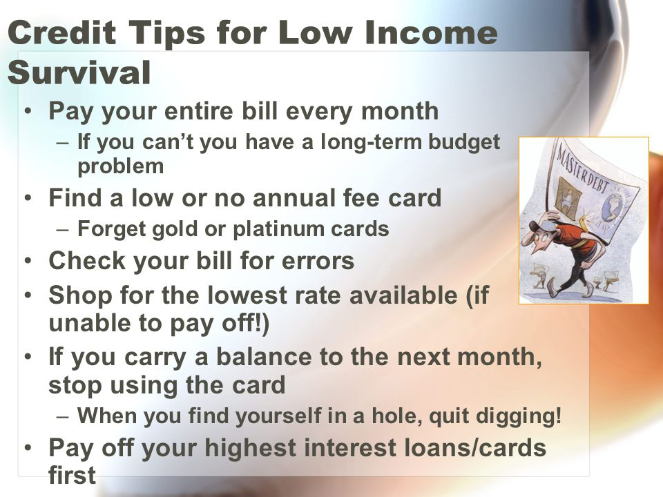 Credit Tips for Low Income Survival Pay your entire bill every month –If you can't you have a long-term budget problem Find a low or no annual fee car