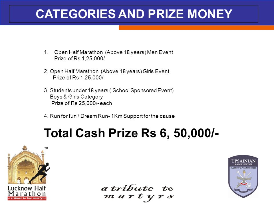 ABOUT THE EVENT CATEGORIES AND PRIZE MONEY 1.Open Half Marathon (Above 18 years) Men Event Prize of Rs 1,25,000/- 2. Open Half Marathon (Above 18 year