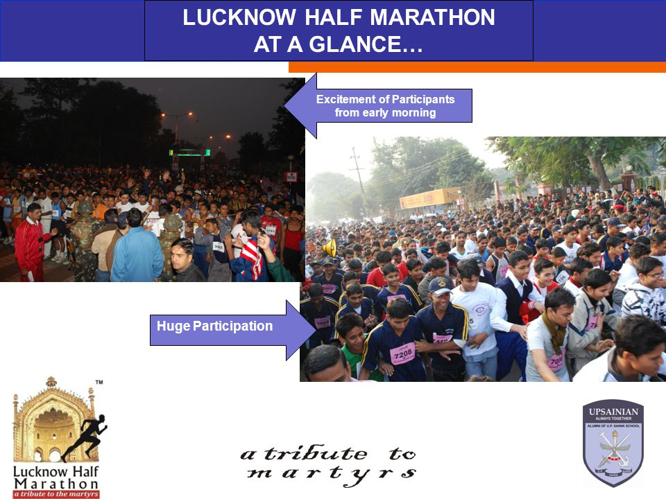 ABOUT THE EVENT LUCKNOW HALF MARATHON AT A GLANCE… Excitement of Participants from early morning Huge Participation