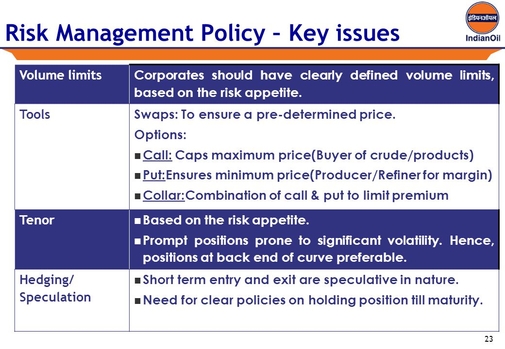 23 Risk Management Policy – Key issues Volume limits Corporates should have clearly defined volume limits, based on the risk appetite.