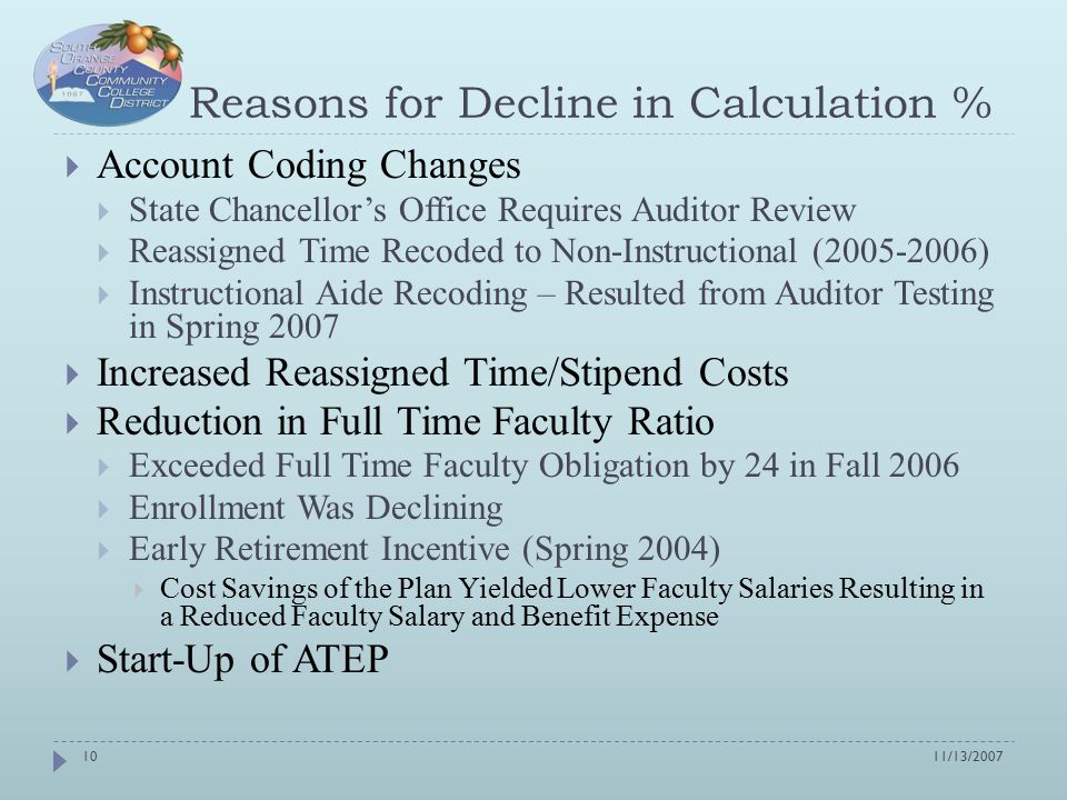 Reasons for Decline in Calculation %  Account Coding Changes  State Chancellor's Office Requires Auditor Review  Reassigned Time Recoded to Non-Instructional (2005-2006)  Instructional Aide Recoding – Resulted from Auditor Testing in Spring 2007  Increased Reassigned Time/Stipend Costs  Reduction in Full Time Faculty Ratio  Exceeded Full Time Faculty Obligation by 24 in Fall 2006  Enrollment Was Declining  Early Retirement Incentive (Spring 2004)  Cost Savings of the Plan Yielded Lower Faculty Salaries Resulting in a Reduced Faculty Salary and Benefit Expense  Start-Up of ATEP 11/13/200710