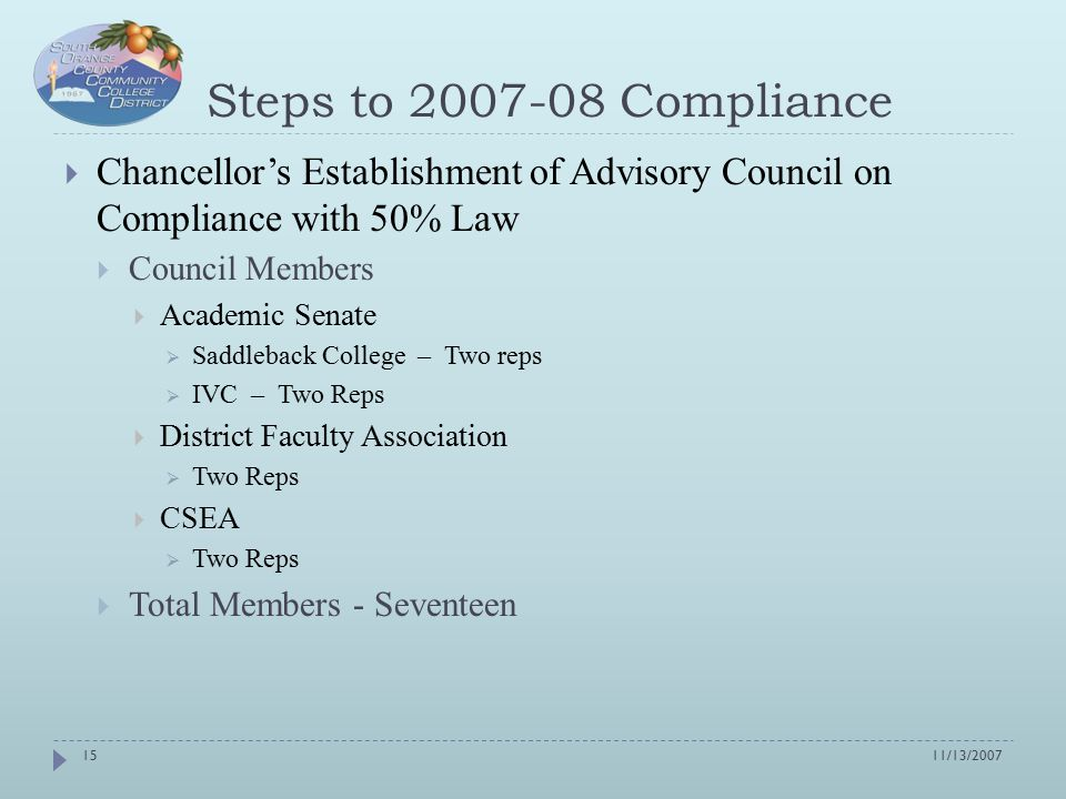 Steps to 2007-08 Compliance  Chancellor's Establishment of Advisory Council on Compliance with 50% Law  Council Members  Academic Senate  Saddleback College – Two reps  IVC – Two Reps  District Faculty Association  Two Reps  CSEA  Two Reps  Total Members - Seventeen 11/13/200715