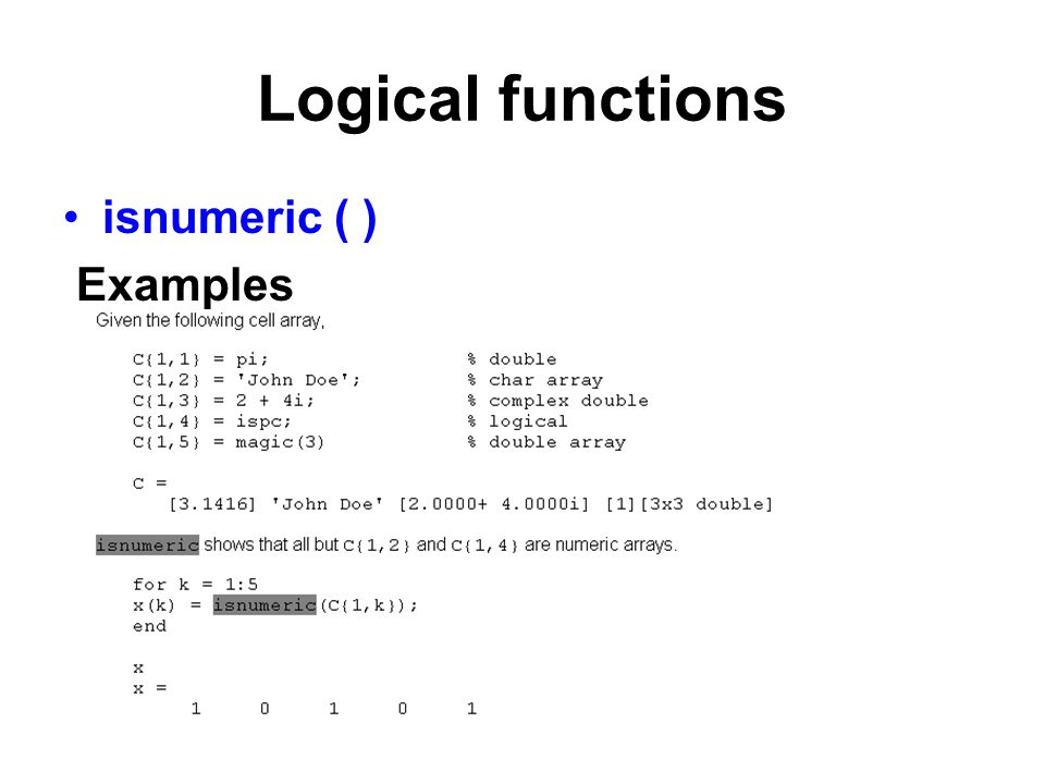 Logical functions isnumeric ( ) Examples