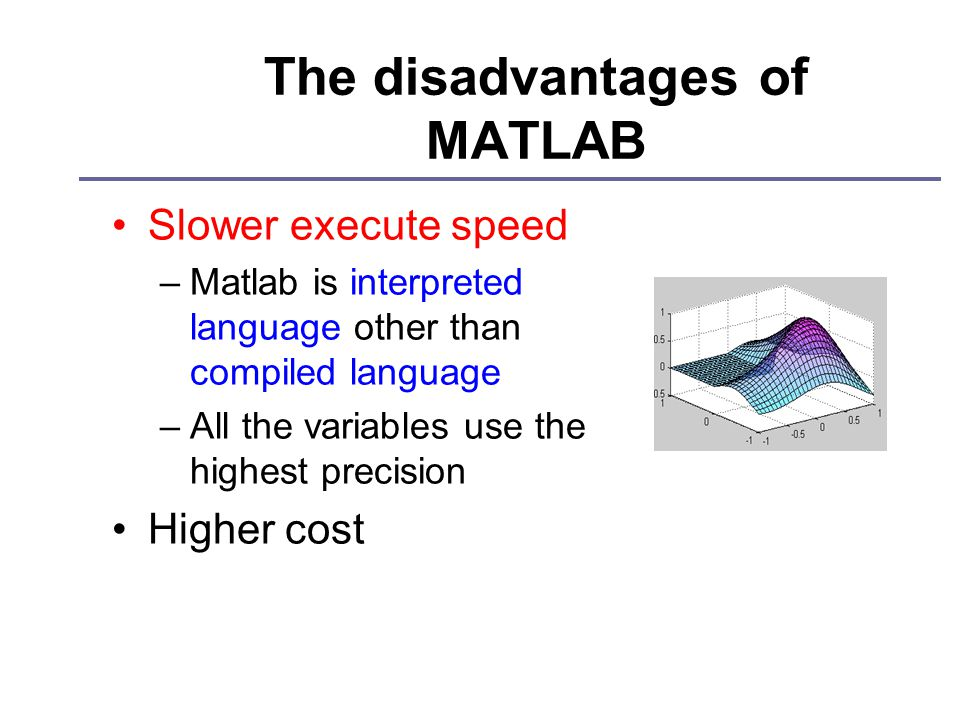 The disadvantages of MATLAB Slower execute speed –Matlab is interpreted language other than compiled language –All the variables use the highest precision Higher cost