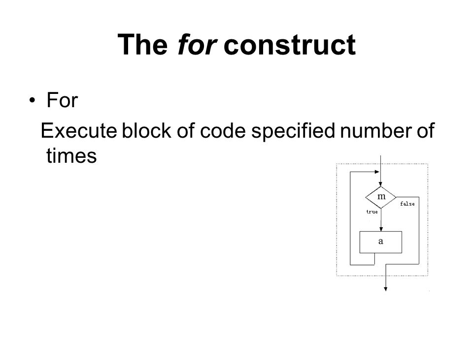 The for construct For Execute block of code specified number of times