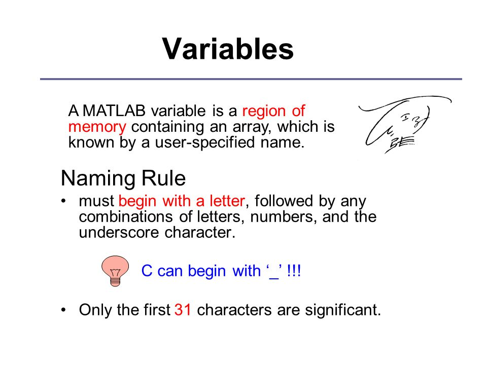 Variables Naming Rule must begin with a letter, followed by any combinations of letters, numbers, and the underscore character.