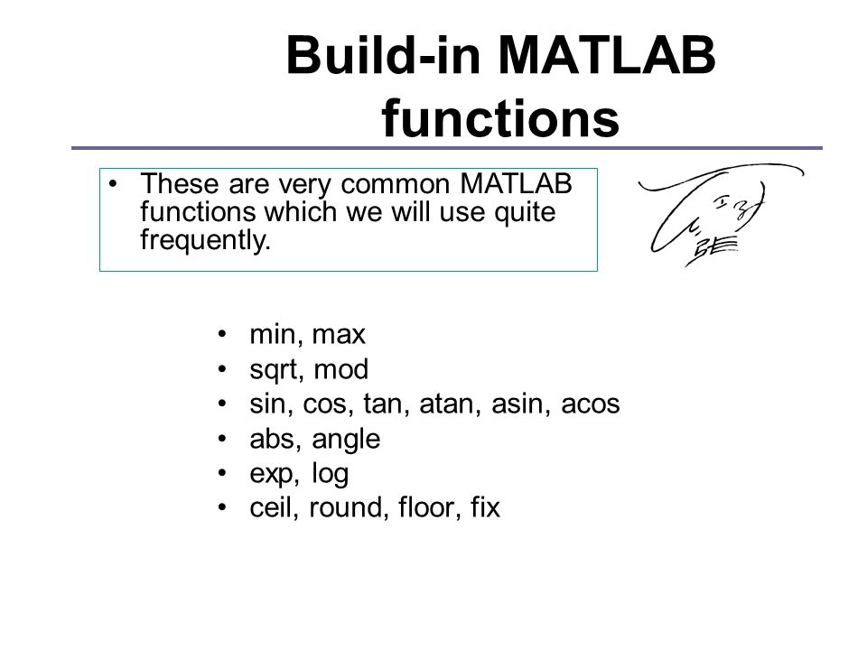 Build-in MATLAB functions min, max sqrt, mod sin, cos, tan, atan, asin, acos abs, angle exp, log ceil, round, floor, fix These are very common MATLAB functions which we will use quite frequently.
