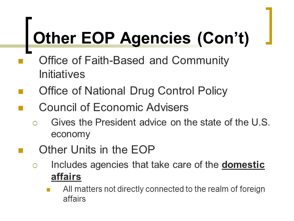 Other EOP Agencies (Con't) Office of Faith-Based and Community Initiatives Office of National Drug Control Policy Council of Economic Advisers  Gives